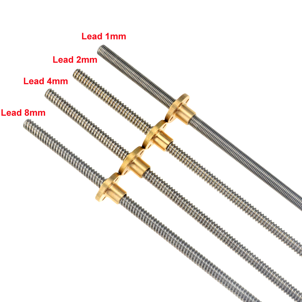 CNC 3D Printer THSL-300-8D Trapezoidal Rod T8 Lead Screw Thread 8mm Lead1mm Length100mm200mm300mm400mm500mm600mm With Brass Nut