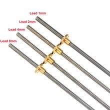 CNC 3D Printer THSL-300-8D Trapezoidal Rod T8 Lead Screw Thread 8mm Lead1mm Length100mm200mm300mm400mm500mm600mm with Brass Nut