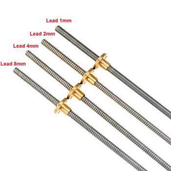 CNC 3D drukarki THSL-300-8D trapezowe pręt T8 śruba pociągowa gwint 8mm Lead1mm Length100mm200mm300mm400mm500mm600mm z mosiężna nakrętka tanie i dobre opinie VENSTPOW T8 Lead Screw T8 leadscrew