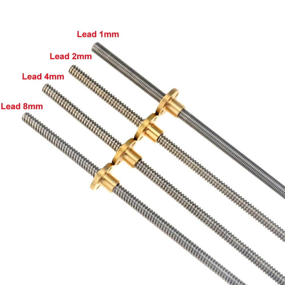 THSL-300-8D de impresora 3D CNC varilla Trapezoidal T8 rosca de tornillo de plomo 8mm Lead1mm con tuerca de latón