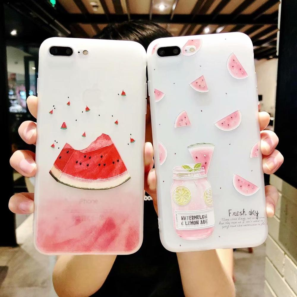 For iPhone7plus Korea Embossed Waterlemon Matte Printed TPU Soft Back Cover For iPhoneX 8 6s Body Shell Protection