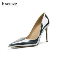 0c93c9c67 Rxemzg 2018 primavera verão sapatos único hot espelho de couro de patente  mulheres bombas sexy sapato de bico fino finos saltos .