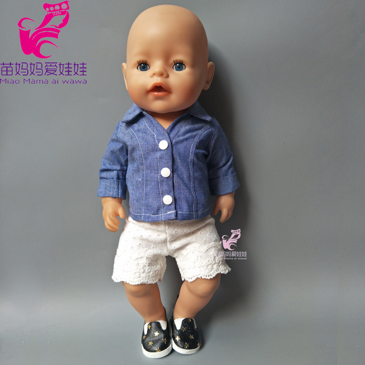 Baby new born baby doll Jeans clothes short pants set for 18 inch dolls suit for doll girls gift