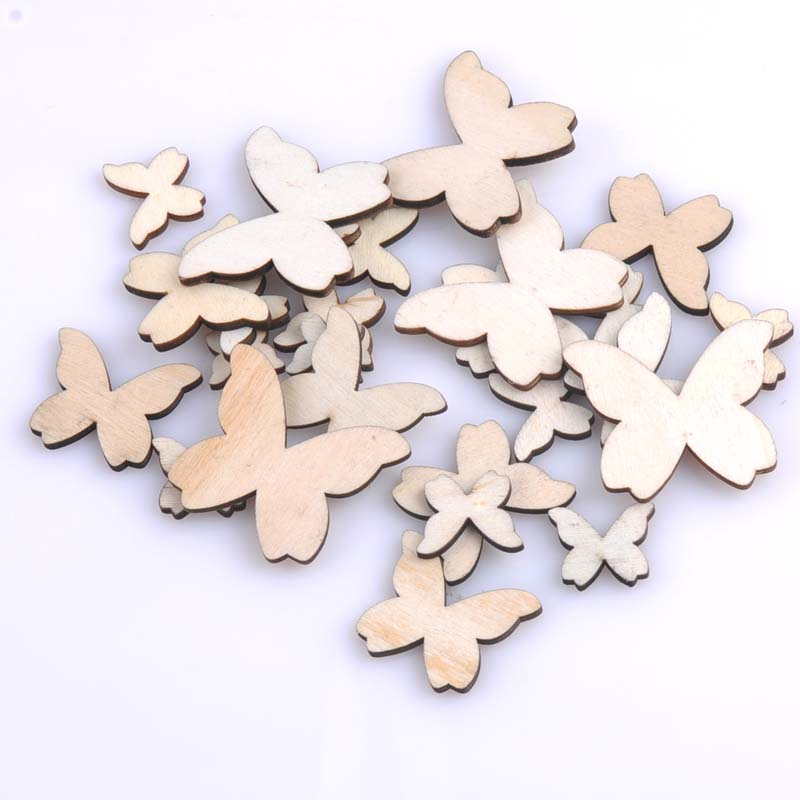Mixed Size Natural Wooden Butterfly Scrapbooking <font><b>Nautical</b></font> Carft for <font><b>Home</b></font> <font><b>Decoration</b></font> 15/20/30/40mm 100pcs MT0700