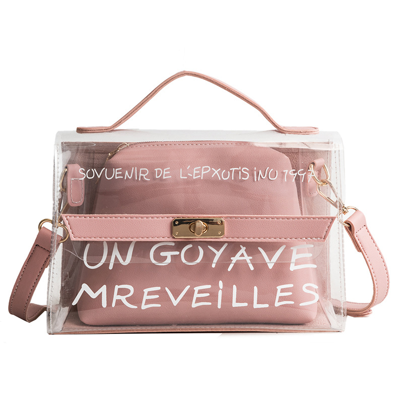 Pink 2pcs New Women Tote Bags Shoulder Bag Clear Transparent Jelly Candy Summer Beach Handbag Woman Messenger Handbags Bolsa zhierna new summer korean chain single shoulder bag big handbag fashion picture bags women jelly crystal transparent beach bag