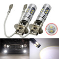 New 2pcs LED Lights Pure White H3 10W 2323 SMD 10 LED Car Auto Fog Driving Lights Headlight Lamp Bulb For DC 12V LED Light