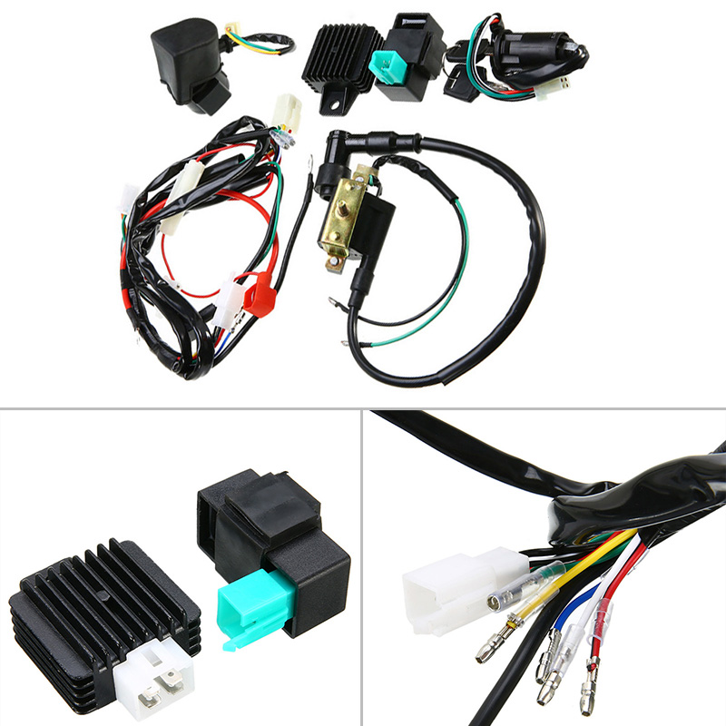 1 set motorbike cdi wiring harness ignition coil rectifier for 50cc 110cc 125cc  atv quad wire harness