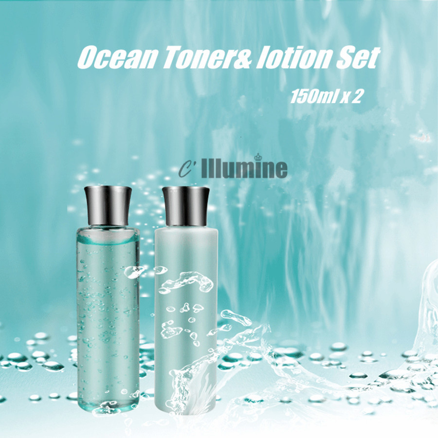 Ocean Toner Lotion Set 2 Bottles Whitening Moisturizing Oil Control Shrink Pores Firming Anti-Dry Fine lines Remove 150ml x 2 skin care laikou collagen emulsion whitening oil control shrink pores moisturizing anti wrinkle beauty face care lotion cream