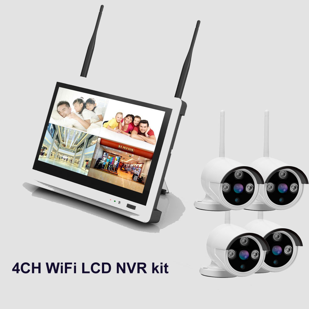 New arrival 4ch Outdoor Day night security camera system 720P Real WiFi wireless NVR kit with 12.5 inch LCD Screen