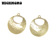 2019 New 34*30mm 2pieces/bag High Quality Zinc Alloy Gold Round Moon Charms Pendant for Earring Necklace Jewelry Accessories