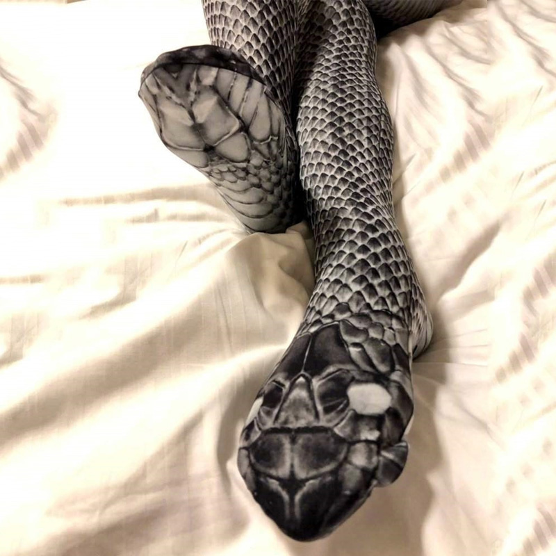 Novel Sexy Women's Tights Snake Printed Stretch Funny Pantyhose Female Club Party Hosiery Cobra Python Tights Collants Femme