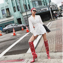 Chaussures femme boots leather stockings PVC overknee red crotch female winter high heel long rain stretch booties