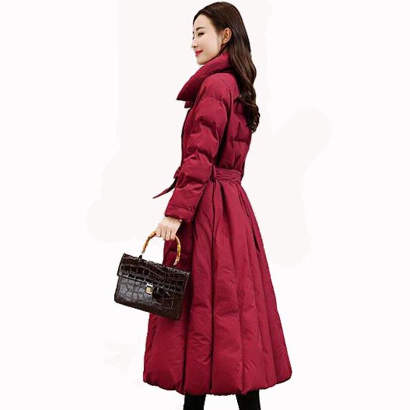 New Fashion Elegant Down Cotton Coat Women Long Parka Winter Jacket Women Slim Thicken Cotton Wadded
