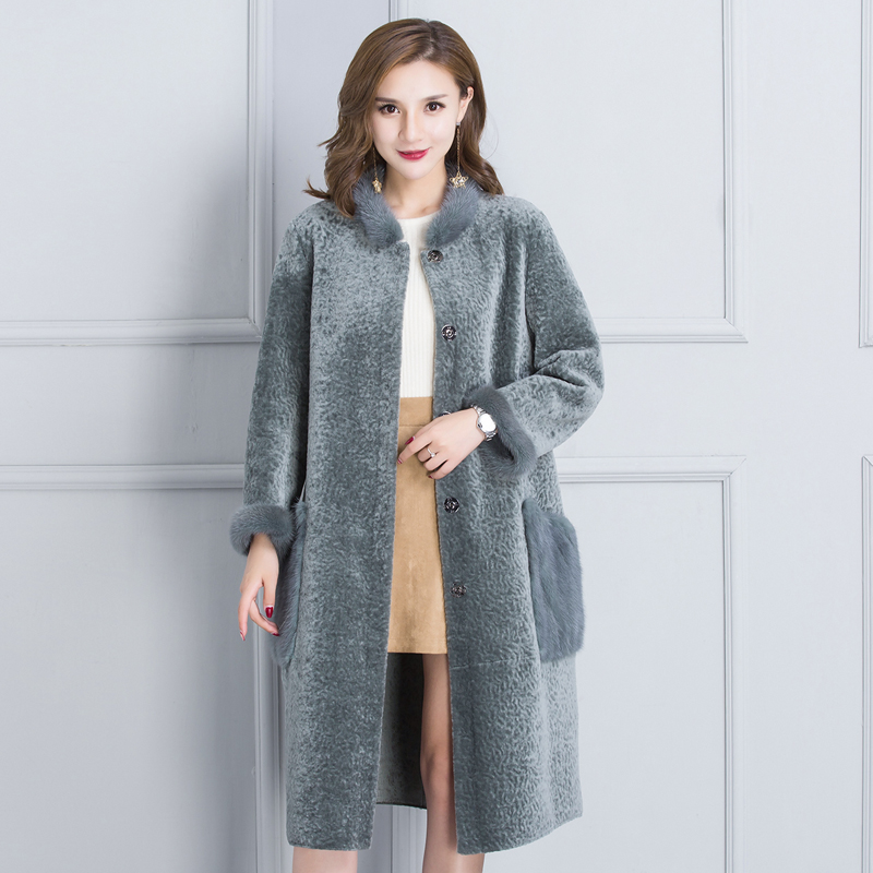 Зимние новые поступление модные двух сторон искусственной Шерстяное пальто O Средства ухода за кожей Шеи покрыта кнопку Flare рукавом Slim Тепл...