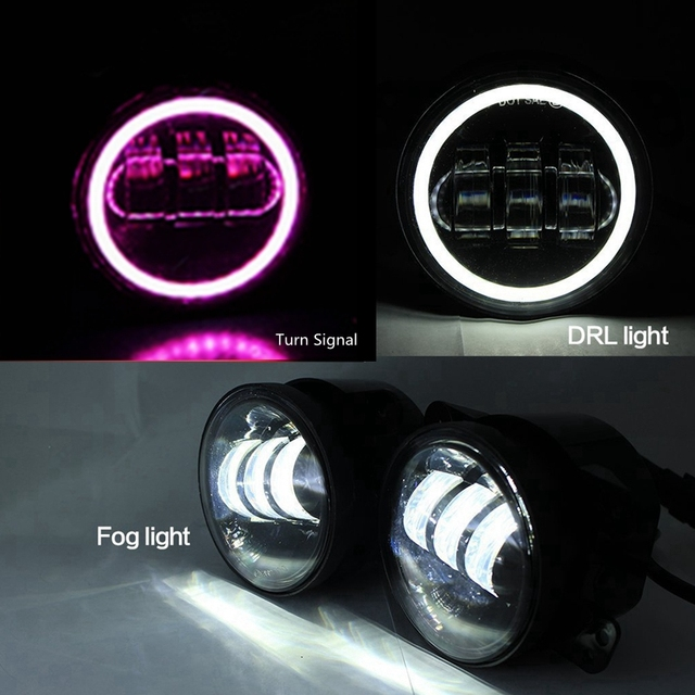 2x4 inch 30w led fog lights len projector with white pink halo for jeep wrangler