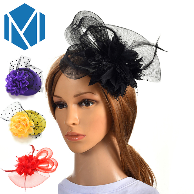 2018 New Fashion Elegant Bride Feather Fascinator Hairpins for Wedding Party Hair Clip French Mesh Veil Hair Hoop Hair Ornaments