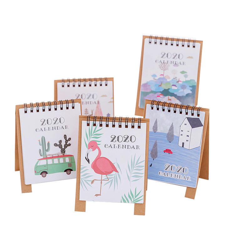 2019-2020 Fresh Style DIY Forest Animals Mini Desktop Paper Calendar Dual Daily Scheduler Table Planner Yearly Agenda Organizer