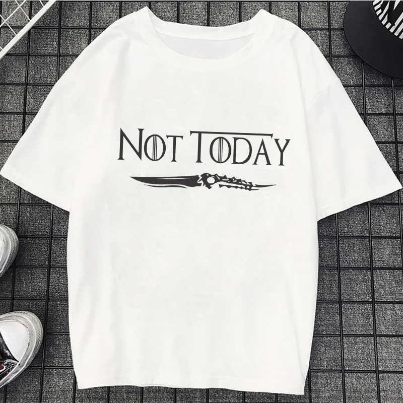 Harajuku Kawaii Not Today T-shirts Female Casual Loose Tops Tees Women Short Sleeve Vintage T Shirts Vogue White Oversized Shirt