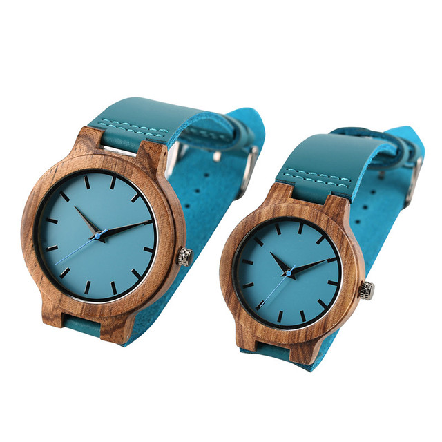 Unique Blue Color Wooden Quartz  Genuine Leather Band Lover's Watches