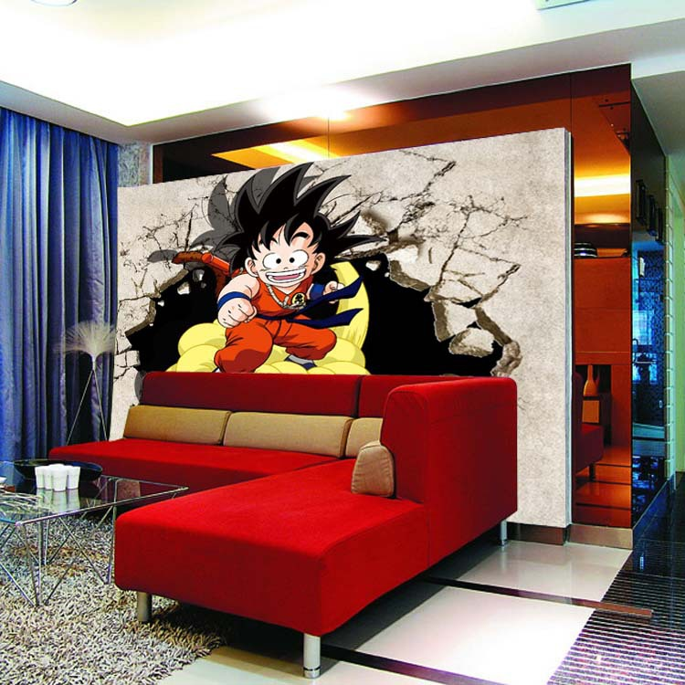 Us 26 8 Cartoon Tv Background Wallpaper Children S Room Wall Stickers Living Room 3d Anime Dragon Ball Large Mural In Wallpapers From Home