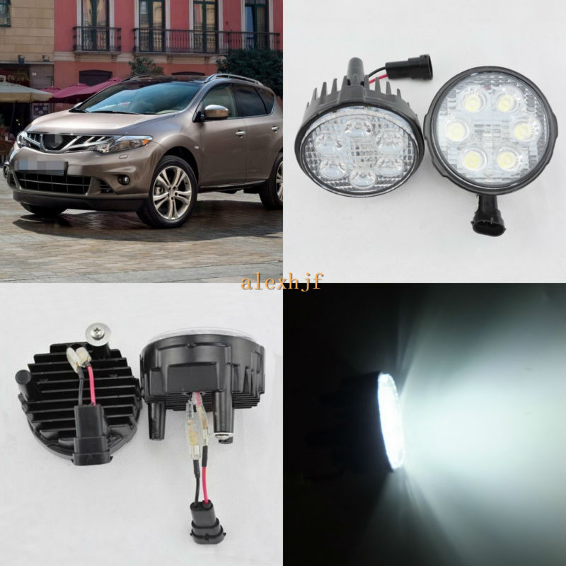 July King 18W 6LEDs H11 LED Fog Lamp Assembly Case for Nissan Murano 2008~2014, 6500K 1260LM LED Daytime Running Lights july king 18w 6leds h11 led fog lamp assembly case for nissan x trail 2014 on rouge 2008 2011 2014 on 6500k 1260lm led drl