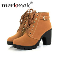 High Heels Boots Platform Lace Up Thick Heel Ankle Boots For Women Comfortable Square Soft Leather
