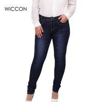 2015 Winter Autumn Fashion Brand Plus Size Jeans Blue Color Casual Brand Denim Pants Woman Pencil