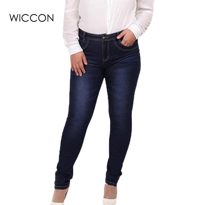 2019 Spring autumn fashion brand plus size   jeans   blue color casual denim pants woman pencil   jean   trousers L-5XL big size WICCON