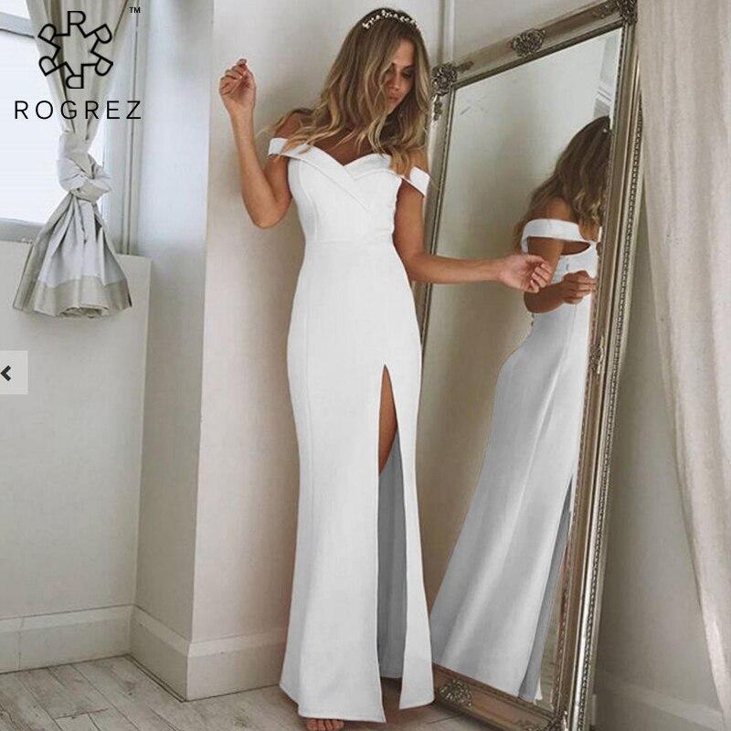 ROGREZ Autumn Elegant Women Dress Sexy Strapless Dress Womens Wrap Dress For Wedding Party Evening Dinner Long Dress