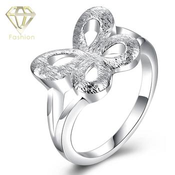 Class Ring New Comming Silver Plated Butterfly Shaped Hollow Personality Design Finger Rings Fashion Jewelry for Women mariposa en plata anillo