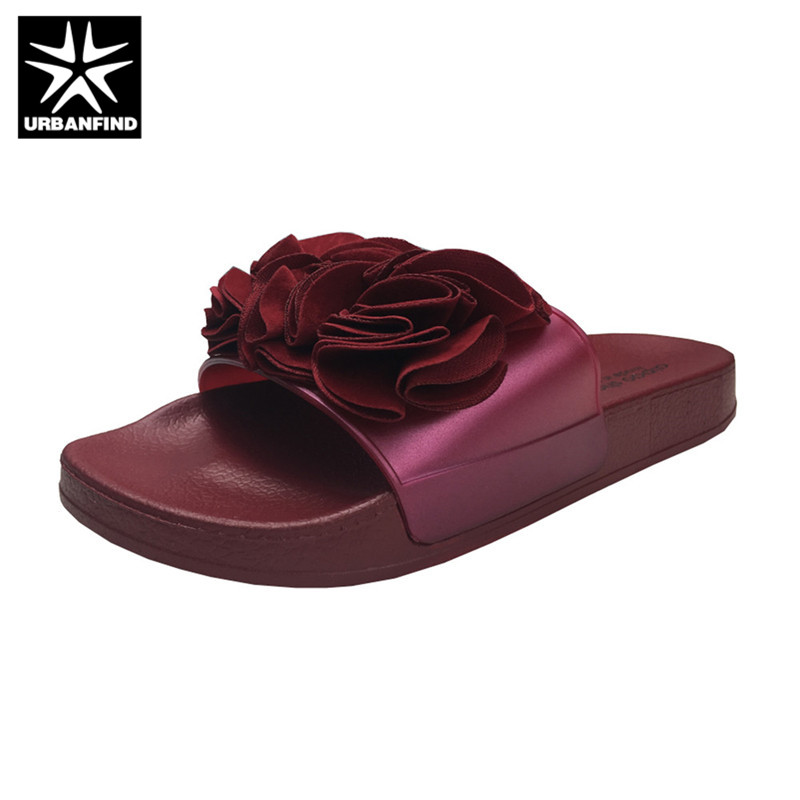 Appliques Decoration Fashion Women Slippers 4 Colors Flower Slides Womens Sandals Summer Beach Shoes Size 36-41