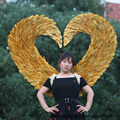 EMS Free shipping High quality Model T station gold angel wings feather accessories Halloween Event decorations props