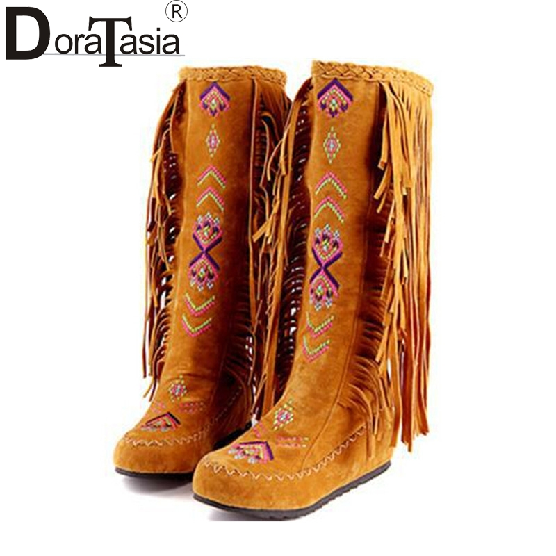 DoraTasia The Chinese Stylish Women Tassel Boots Fringed Flat Heels Spring Autumn  Boots Fashion Knee High 58942bd52ce9