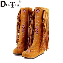 DoraTasia The Chinese Stylish Women Tassel Boots Fringed Flat Heels Spring Autumn Boots Fashion Knee High Long Boots 3 colors