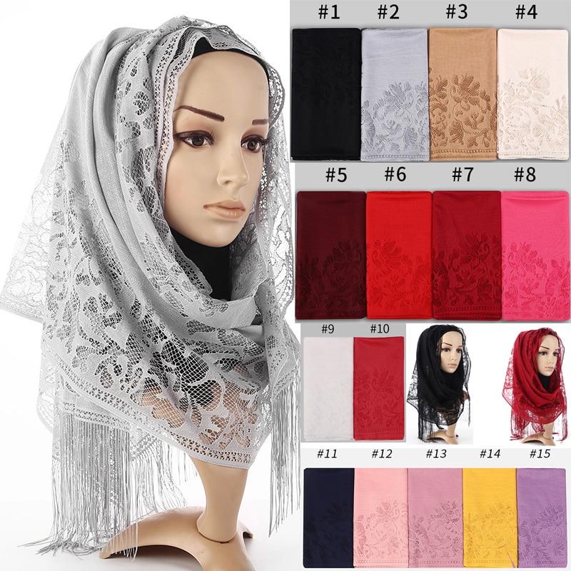 Women Hollow Flower Lace Shawl Muslim Hijab Bandana Pashmina Tassels Scarf Wraps Wedding Party Mantilla Veil Floral Long Scarf