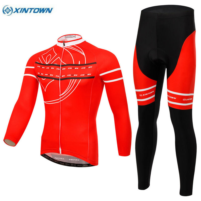 XINTOWN Team Mens Red Clothing Set Ropa Ciclismo MTB Bike Bicycle Cycling Long Sleeve Jersey Bib Pants Suit S-4XL  cheji team mens bike clothing set ropa ciclismo mtb bike bicycle cycling long sleeve jersey
