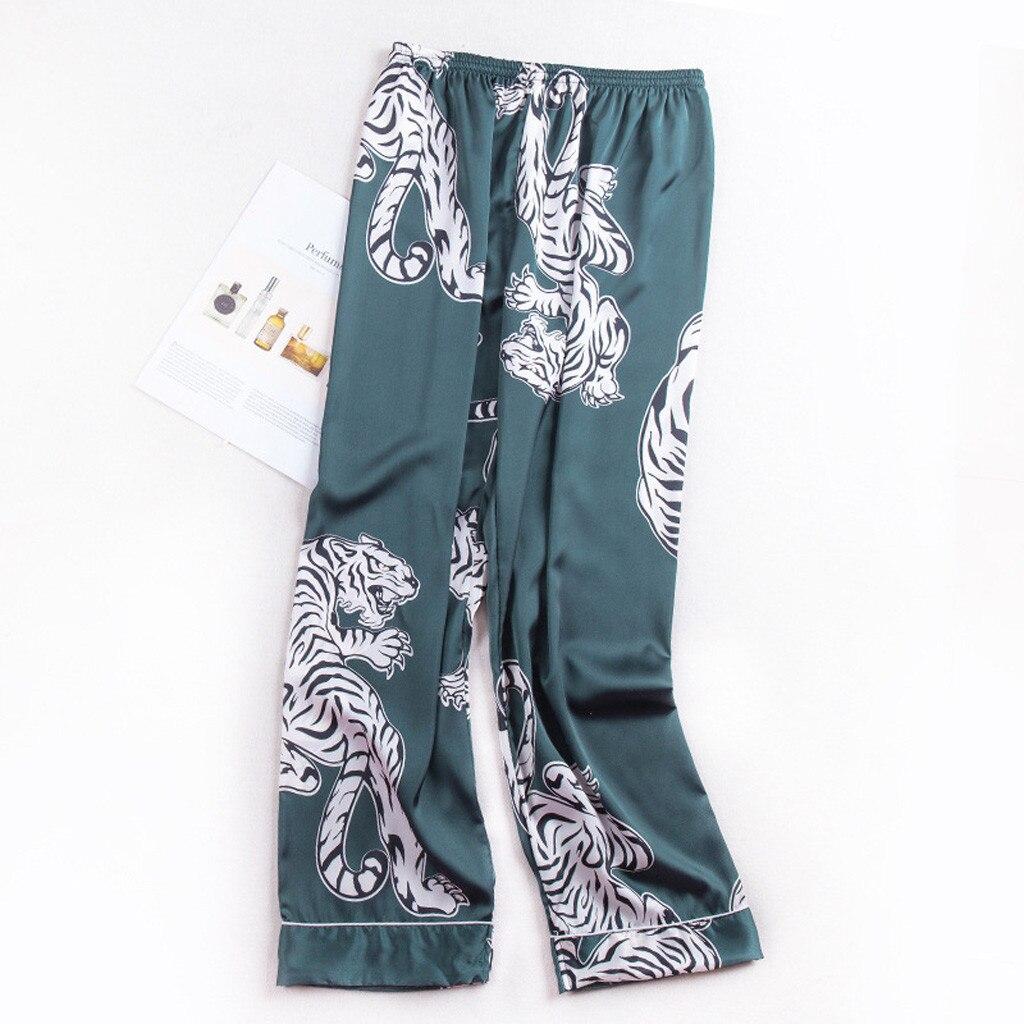 2019 Neue Mode Männer Nachtwäsche Nachtwäsche Pyjamas Unterhose Simulation Silk Pyjamas Wäsche Drucken Lange Schlaf Hosen