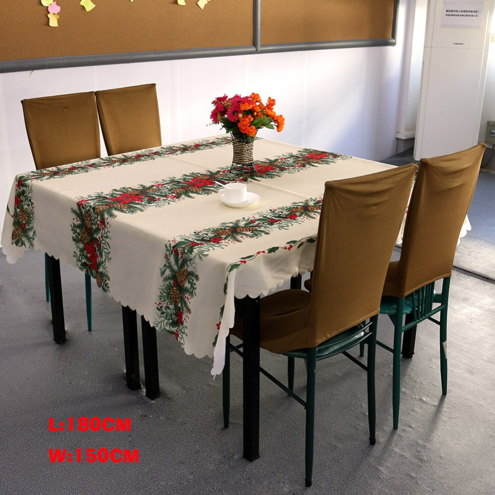 Christmas Tree Tablecloths White Table Cloth Rectangular Toalhas De Mesa  New Year Linen Table Covers Party