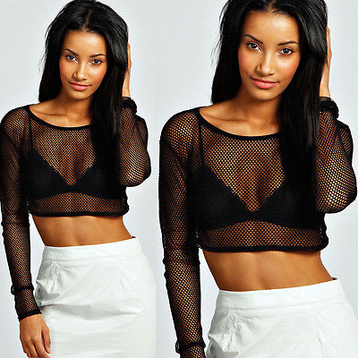 T-shirts Womens Crop Top Ladies All Mesh Lace Fishnet Long Sleeve Stretch Vest T Shirt Women's Clothing