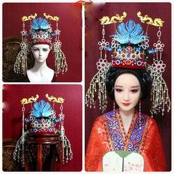 Ming-dynastie Keizerin Vintage Dragon Phoenix Tiara Oude Chinese Traditionele Crown Hoofddeksels Kwastje Fotografie Bruiloft Tiara