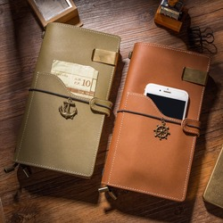IPBEN Newest Genuine Leather Traveler's Notebook Vintage Style Travel Journal Diary Handmade Gift Wallet Note Book Card Keeping