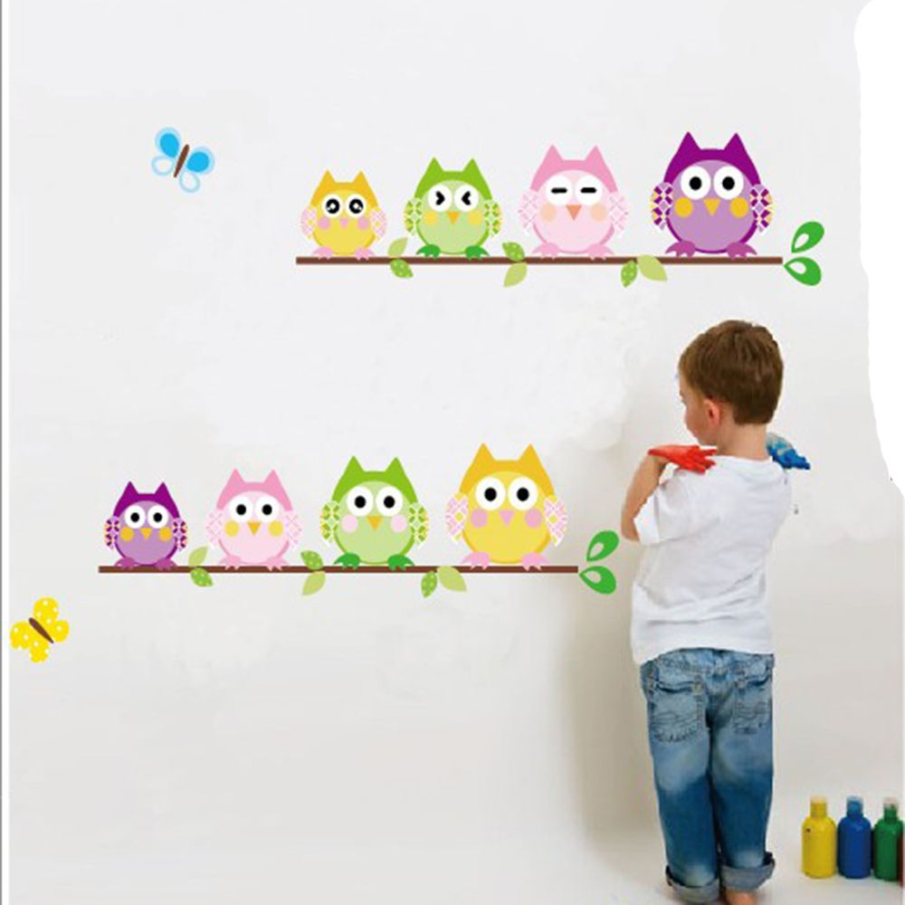 wall sticker tree animals bedroom Owl Butterfly Wall Stickers home decor living room but ...