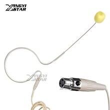 Кожа Цвет мини XLR 3 Pin TA3F один Заушник конденсаторный микрофон гарнитуры для Samson беспроводной нательный передатчик аудио смеситель