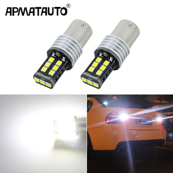 Apmatauto 2x LED Backup Reverse Light Bulbs 1156 p21w with Samsung Chips For BMW 3/5 SERIES E30 E36 E46 E34 X3 X5 E53 E70 Z3 Z4 image