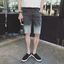 2016 summer new Korean slim cowboy five shorts are gray gradient washed jeans