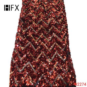 HFX Luxury African sequins Lace Fabric High Quality French 2019 New Arrival Sequin tulle Lace Fabrics For party dress H2274