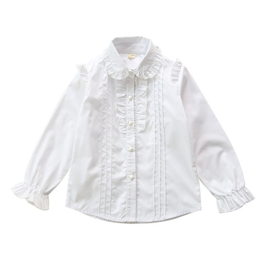 4-12 y children shirts girls white blouse 2018 long sleeve girls blouses white lace shirt for girl clothes tops solid color