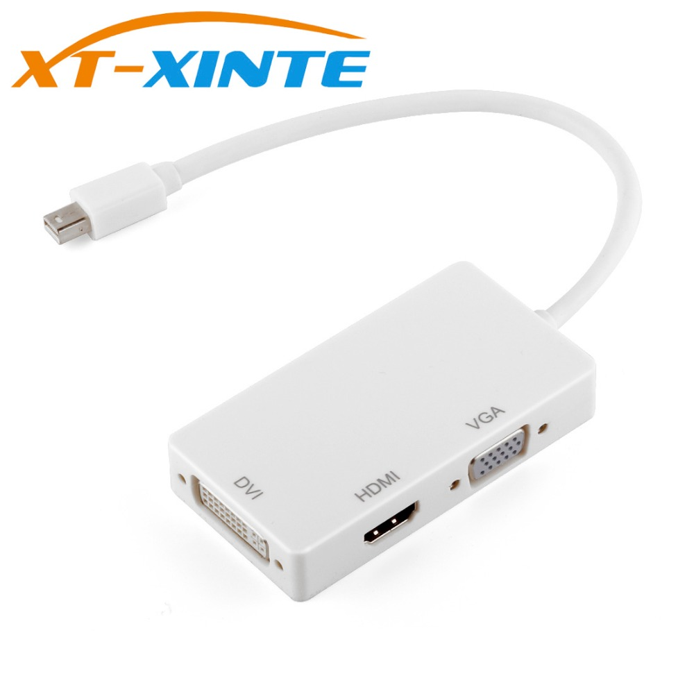 3 in 1 Mini Display Port DP Male to HDMI DVI VGA Cable Adapter Converter Support 1080P Thunderbolt for Apple Macbook Pro Dell reliable displayport thunderbolt to dvi vga hdmi adapter 3 in1 for macbook imac support mini display port 1 1a dual mode input
