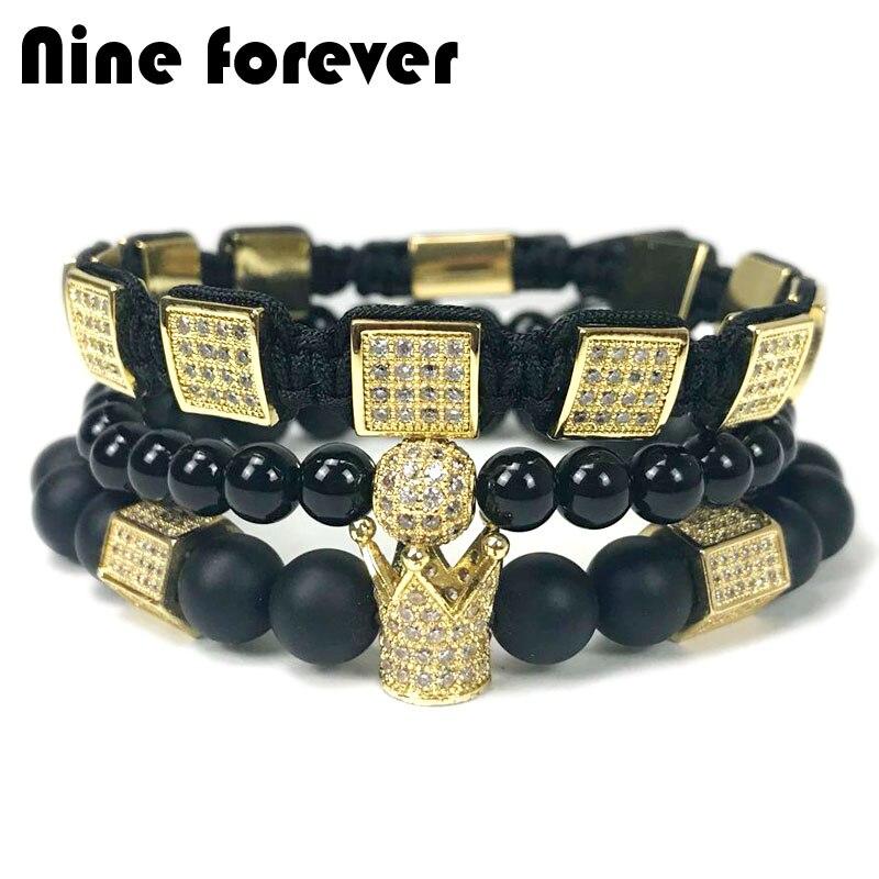 Neun für immer naturstein perlen armband männer schmuck hexagon krone charme flechten armbänder pulseira masculina bileklik