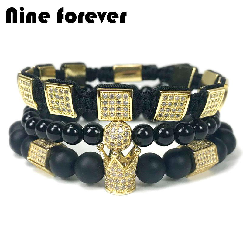 Nine forever natural stone beads bracelet men jewelry hexagon crown charm braiding bracelets pulseira masculina bileklik new design stone bracelet men women popular stone bracelet skull micro pave cz beads skull male bracelet crown zircon bracelets
